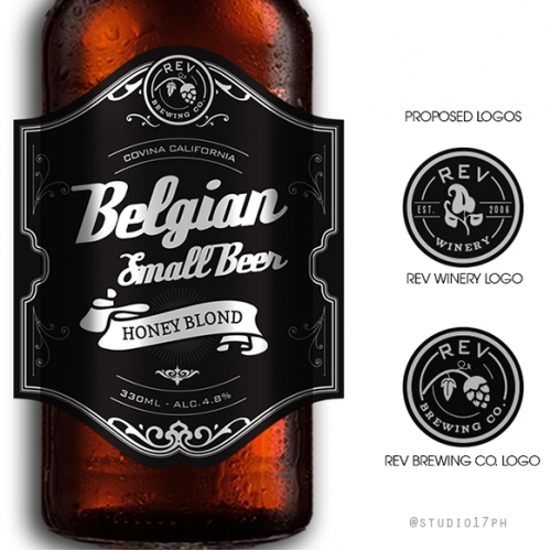 REV Logo and Beer Label Design